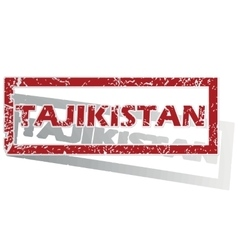 Tajikistan outlined stamp vector