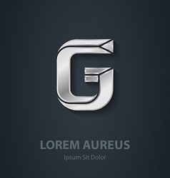 Letter g elegant silver font template for company vector