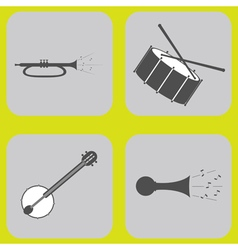 Monochrome icon set with musical instruments vector