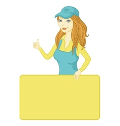 girl with a poster vector image
