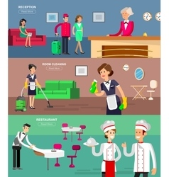 Hotel staff and service vector