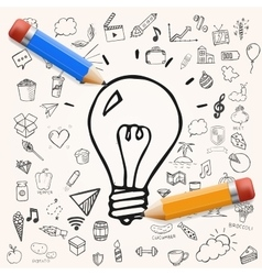 Light bulb hand drawn doodle vector