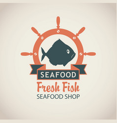 banner for seafood shop with fish and a ship helm vector image vector image