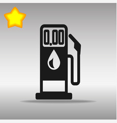 Black gasoline pump icon button logo symbol vector