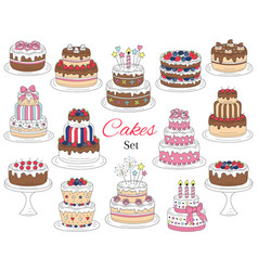 cakes set hand drawn colorful doodle vector image