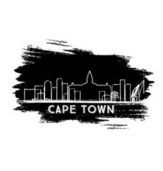 Cape town skyline silhouette hand drawn sketch vector