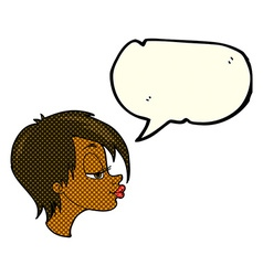 cartoon pretty woman with speech bubble vector image vector image