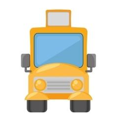 Cartoon yellow school bus transport pupils vector