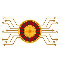 Casino roulette circuit flat icon vector