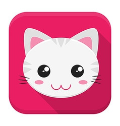 Cat flat app icon with long shadow vector