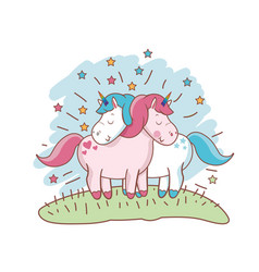 Character unicorn couple loving meadow vector