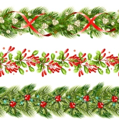 Christmas berry border seamless pattern set vector