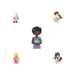 Flat icon parent set of child newborn baby mam vector