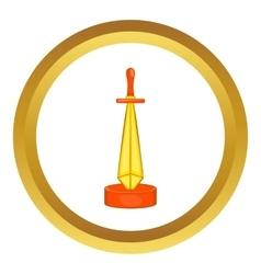 Golden sword award icon vector image
