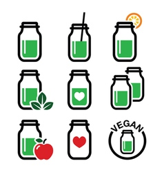 Green shake green smoothie jar icons set vector image vector image