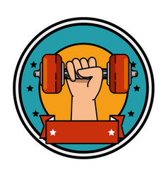 hand human with weight lifting isolated icon vector image