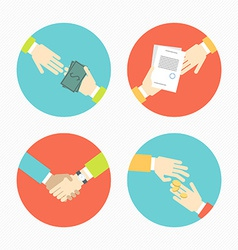 Hands with business object and icons money vector image