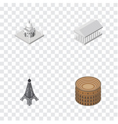 Isometric architecture set of athens paris vector
