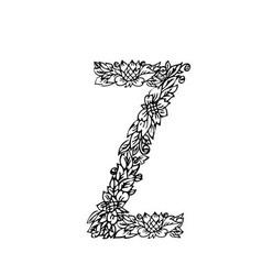 letters floral z vector image