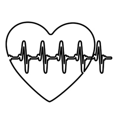 Monochrome contour of heart with line vital sign vector