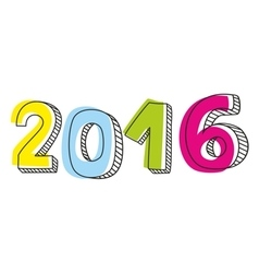 New Year 2016 pastel sign isolated on white vector image