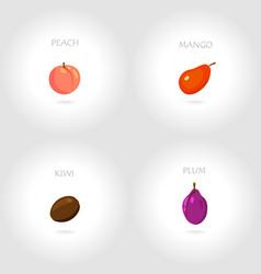 peach mango kiwi plum vector image