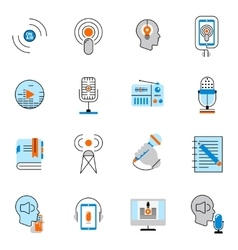 Podcast icons flat line set vector