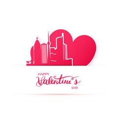 Red heart and silhouette of toronto city paper vector