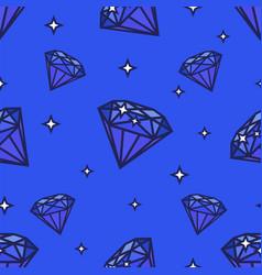 Seamless diamonds pattern on blue vector