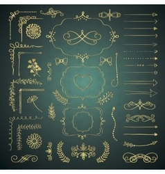 Set of decorative hand drawn design vector