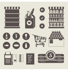 Supermarket icons vector image vector image