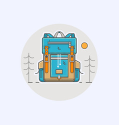 with cartoon flat backpack and vector image vector image