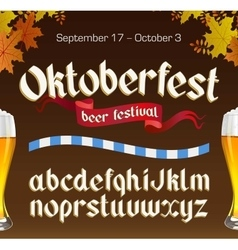 Oktoberfest vintage font with beer and autumn vector