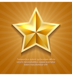 Golden star poster with orange sun burst retro vector