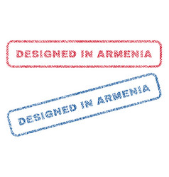 Designed in armenia textile stamps vector