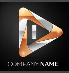 letter i logo symbol in the colorful triangle on vector image