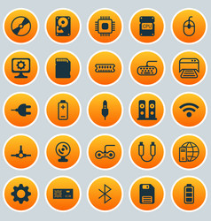 Computer icons set collection of chip cd-rom vector