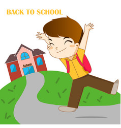 Boy feeling happy to going back to school vector