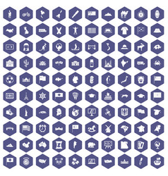 100 geography icons hexagon purple vector
