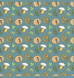 a glass of beer an ear of barley a cone of hops vector image
