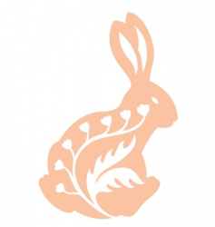Vintage rabbit back view vector