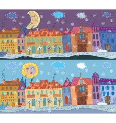Town winter vector