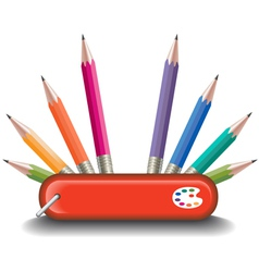 Swiss knife pencils vector