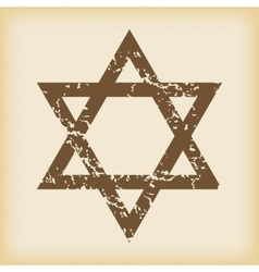 Grungy star of david icon vector