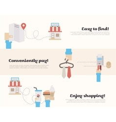 Process of buying in the supermarket vector