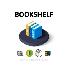 Bookshelf icon in different style vector
