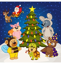 Animal around christmas tree vector