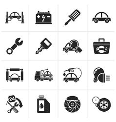 Black car service maintenance icons vector