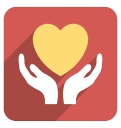 Heart care hands flat rounded square icon with vector