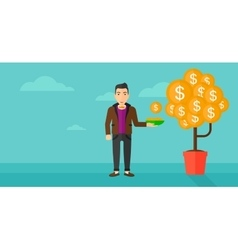 Man catching dollar coins vector